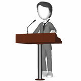 3D Human holding a Speech. Standing at a Rostrum Stock Photography