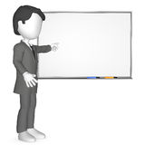 3D Human infront of a Whiteboard. Copy Space Royalty Free Stock Photography