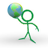3d human keep the world in hand. 3D Character and Lovely Earth Stock Photography