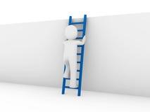 3d human ladder blue. 3d human ladder wall success business up blue Stock Image