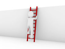 3d human ladder red. 3d human ladder wall success business up red Royalty Free Stock Image