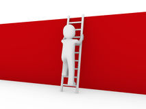 3d human ladder wall red. 3d human ladder wall success business up red Royalty Free Stock Images