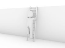 3d human ladder wall success Royalty Free Stock Image