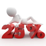 3D human lying at 25 percent. 3D human lying at red 25 percent Royalty Free Stock Images
