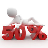 3d human lying in 50 percent. 3d human lying in a red 50 percent Stock Illustration