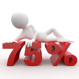 3D human lying at 75 percent. 3D human lying at a red 75 percent Stock Photo