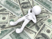 3D Human lying on money Stock Photography