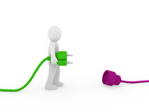3d human man plug green purple Royalty Free Stock Images