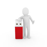 3d human man usb stick. Red plug cable Stock Photography