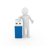 3d human man usb stick. Blue plug memory Royalty Free Stock Photo