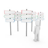 3d human man way sign. Red blue arrow Stock Image