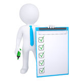 3d human with marker and check list. Isolated render on white background Stock Image