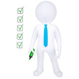 3d human with marker and check list. Isolated render on white background Royalty Free Stock Photos