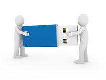 3d human men usb stick blue. Plug memory Royalty Free Stock Photography