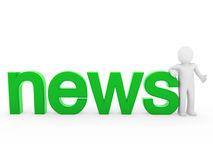 3d human news read green. Isolated white business Royalty Free Stock Photos