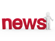 3d human news read red Royalty Free Stock Image