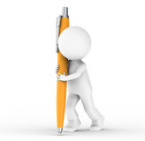 3D Human with an orange Pen. Little Human writing with an orange Pen Royalty Free Stock Photography