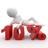 3d human with percent. 3d human lying in 10 percent Royalty Free Stock Photos