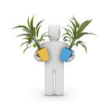 3d human with plants Stock Images