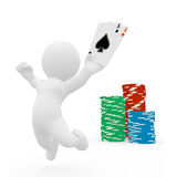 3D human with playing card and poker Stock Images