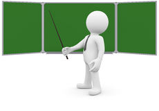 3d human with a pointer next to the blackboard Royalty Free Stock Photos