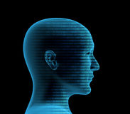 3d human profile from a binary code Royalty Free Stock Image