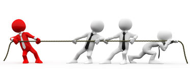 3D human pulling a rope. 1 vs 3 Stock Photo