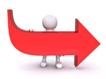 3D Human Red Arrow #1. A 3D human is carrying a big red arrow Royalty Free Stock Images