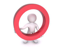 3D Human Red Circle. A 3D human is carrying a big red cicle Stock Photos
