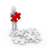 3d human red puzzle. 3d human puzzle red business white success Stock Photography
