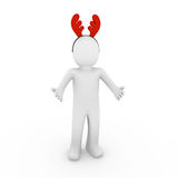 3d human reindeer horns red Royalty Free Stock Photo