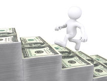 3D Human running up money stair. 3D Human running up USD bill stair Royalty Free Stock Image