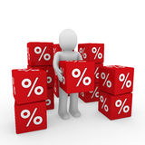 3d human sale cube. 3d human red sale cube success percent business Royalty Free Stock Image