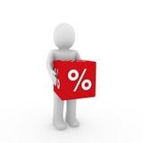 3d human sale cube. 3d human red sale cube success percent business Stock Photography