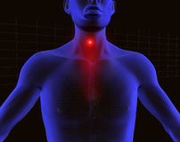 3d human scanner 2. 3d image of 3d human with pain in his throat vector illustration