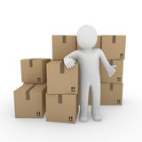 3d Human Shipping Package Royalty Free Stock Image