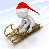 3D human with a sled in the snow Stock Image