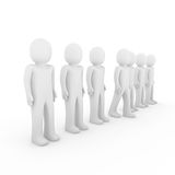 3d human stand crowd. Isolated white background Stock Images
