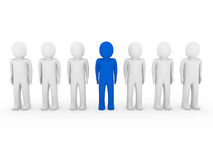 3d human stand crowd blue Stock Photography