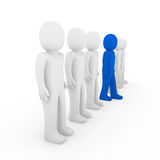 3d human stand crowd blue Royalty Free Stock Photos