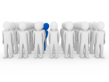 3d human stand crowd blue. Isolated white background Royalty Free Stock Photography