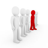 3d human stand crowd red. Isolated white background Royalty Free Stock Photo