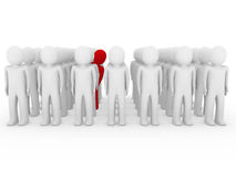 3d human stand crowd red. Isolated white background Stock Photography