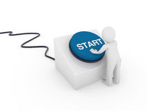 3d human start button. 3d human man button blue start push business Royalty Free Stock Image