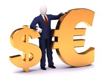 3d human staying with dollar and euro Royalty Free Stock Images
