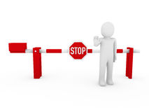3d human stop barrier red Stock Image
