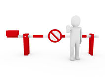 3d human stop barrier red ban Royalty Free Stock Images
