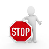 3d human stop red sign white Stock Images