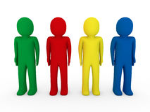 3d human team blue red green yellow Royalty Free Stock Photo