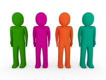 3d human team green pink orange Stock Photography
